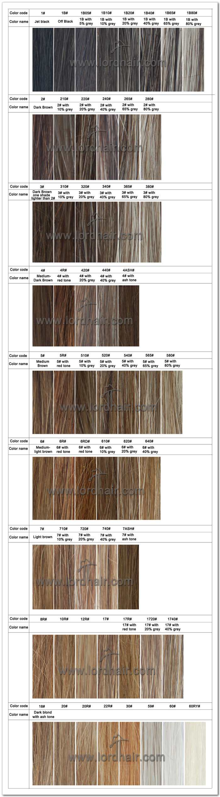 Hair Color Options Of Hair Systems Lordhair